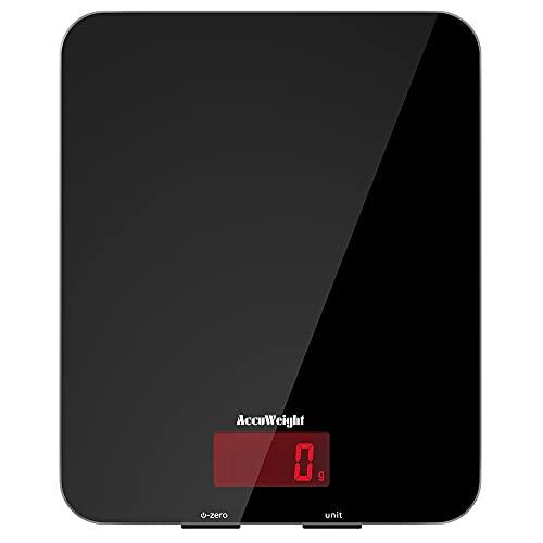 ACCUWEIGHT Digitale Küchenwaage aus Sicherheitsglas Digitalwaage mit LCD-Display und großer Wiegefläche Haushaltswaage bis zu 5kg, 1g Teilung, schwarz, Tara-Funktion