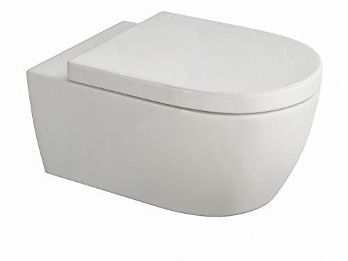 SSWW Design Hänge WC spülrandlos Toilette inkl. softclose wc Sitz absenkautomatik + abnehmbar spülrandloses Wand wc inkl. Beschichtung kurze Version