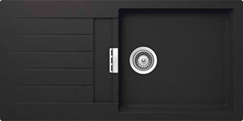 SCHOCK Küchenspüle 100 x 50 cm Primus D-100L Onyx - CRISTALITE dunkelgraue Granitspüle ab 60 cm Unterschrank-Breite