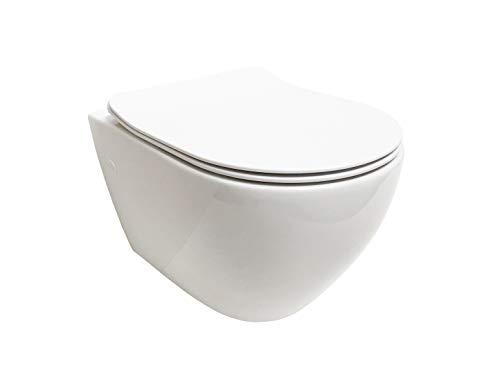 ADOB, spülrandlose WC Keramik Nanoversiegelung Hänge WC Toilette wandhängend mit passendem WC Sitz mit Absenkautomatik, inkl. Schallschutzmatte,28023