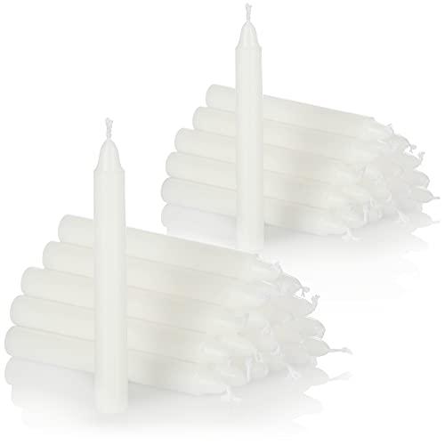 com-four® 40X Baumkerzen aus Wachs - Weihnachtsbaumkerzen, Christbaumkerzen, Pyramidenkerzen für Weihnachten - Kerzen klein - Ø 11 x 105 mm (40 Stück - weiß)