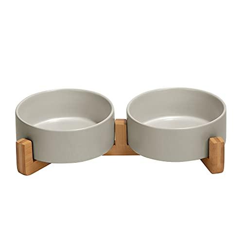 SPUNKYJUNKY Keramik Doppel Hund Futternapf mit Bambus Ständer für Katzen und Hunde (400ml, Grau)