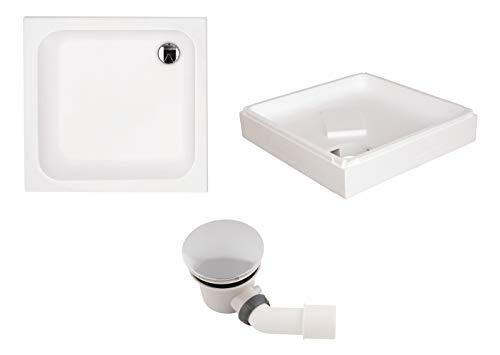 'aquaSu® Acryl-Brausewannen-Set | Duschwanne mit Wannenträger und Excenter-Ablaufgarnitur | 90 x 90 x 6,5 cm | Weiß | 83001 0