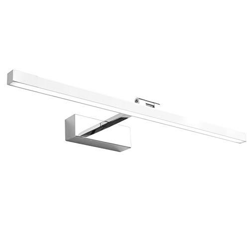 Klighten LED Spiegelleuchte 5500K Tageslichtweiß,14W IP44 Wasserdichte 180° Rotation Badleuchte Schminklicht für Badzimmer Spiegel,60cm,Chrom
