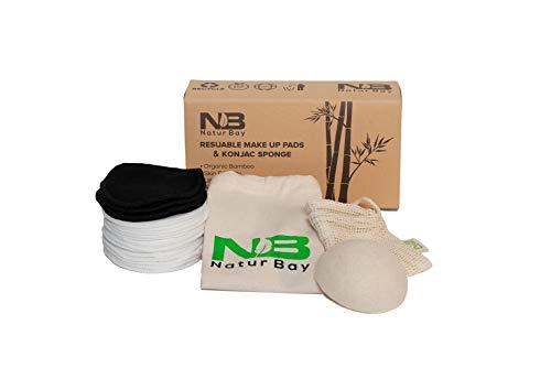 Wiederverwendbare Make-up-Entferner, 18 waschbare, umweltfreundliche Bio-Bambus-Baumwolle, gratis Wäsche & Musselintuch, Reisetasche und Konjac-Schwamm Zero Waste