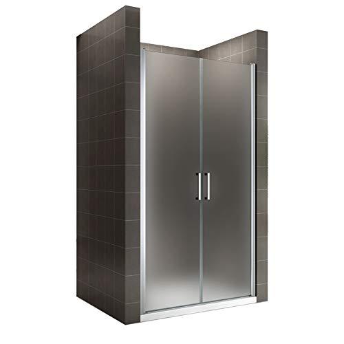 i-flair Duschtür 83x195 cm Verstellbereich von 83-86 cm, Höhe: 195 cm, Duschabtrennung aus 6 mm satiniertem ESG Sicherheitsglas mit Nanobeschichtung und Edelstahlgriffen – NF