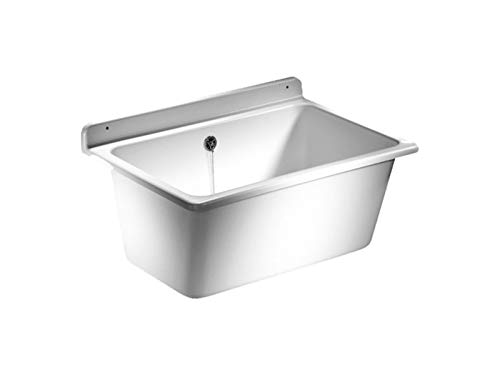 SANIT Waschtrog mit Überlauf, inklusive Befestigungsset, Waschbecken aus Kunststoff mit 35 l Fassungsvermögen, weiß, Art.Nr. 60.003.01..0099