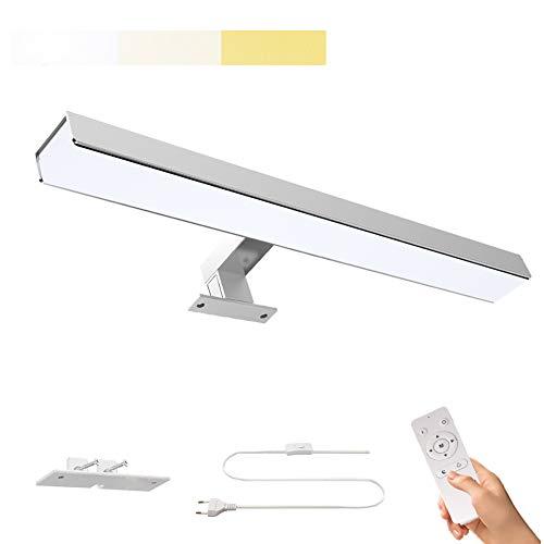 iToncs LED Spiegelleuchte mit Schalter, 40CM 12W 1200LM Schminklicht Dimmbar Neutra/Warmweiss, IP44 Wasserdicht Edelstahl Badlampe, Spiegellampe, Bilderleuchte Wandlampe 3000K-6500K mit Fernbedienung