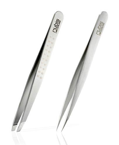 Rubis Pinzetten Set - Augenbrauenpinzette schräg und Splitterpinzette mit spitzer Spitze aus Edelstahl