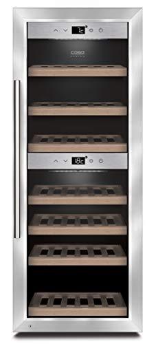 CASO WineComfort 38 | Weinkühlschrank für 38 Flaschen | 2 Zonen auf 5-20°C einstellbar, Touch, LED beleuchtet freistehend, UV-Filterglas, Edelstahl