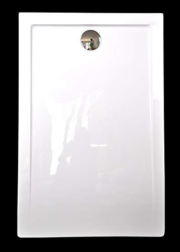 Superflache Duschwanne Duschtasse 80 x 120 cm Komplettes Set kratzfest und rutschfest Antirutsch Reines Acryl Weiß Höhe 3,5cm inkl. Ablaufgarnitur von Art-of-Baan