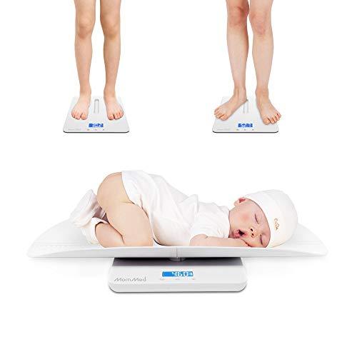 MomMed Babywaage Digital 50 g bis 100 Kg | Kinder-Waage, Baby-Waage | Säuglingswaage, Stillwaage Baby - mit abnehmbaren Aufsatz, Weiß