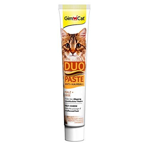 GimCat Duo Paste Anti-Hairball Malz und Käse - Katzensnack fördert den Abgang verschluckter Haare - 1 Tube (1 x 50 g)