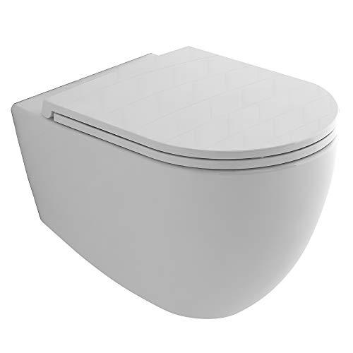 Alpenberger Spülrandloses Hänge-WC aus Keramik 53 x 36,5 cm | Antibakterielle Beschichtung Rimless Toilette inkl. abhnembaren WC-Sitz mit Soft-Close | Wand-WC ohne Spülrand | Elegantes Design