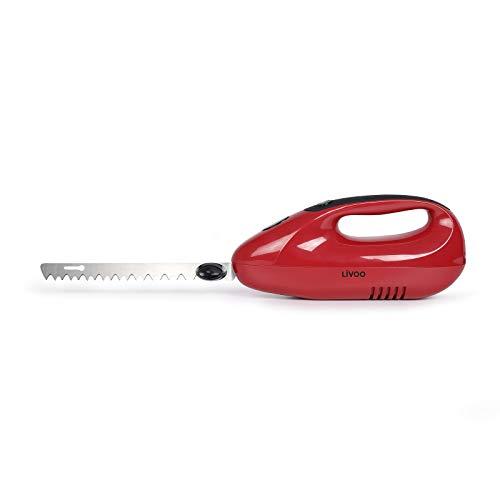 Elektromesser für Fleisch Küche - Elektrisches Messer für Brot - Brotmesser mit Edelstahl Klingen - Fleischmesser Tiefkühlkost 150 Watt - Küchenmesser Elektrisch Doppelmesser - Rot