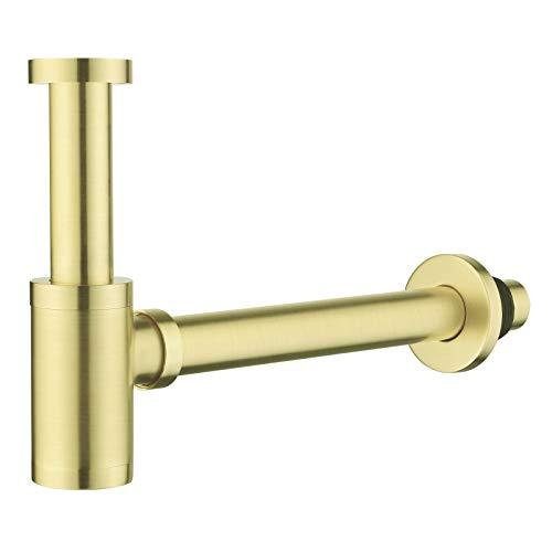 Messing Design Siphon, Keymark Universal Designsiphon für Waschbecken & Waschtisch, Bad Abflussgarnitur passgenau Flaschensiphon 1 1/4 x 32mm, Rund Geruchverschluss, Gebürstete, Brushed Gold