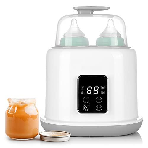 6 in 1 Flaschenwärmer Baby, Sterilisator für Babyflaschen, multifunktionaler Doppel Flaschen Babykostwärmer und Warmhaltung mit LED Display, automatische Abschaltung, BPA-frei