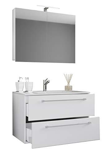 VCM 3-TLG. Waschplatz Badmöbel Badezimmer Set Waschtisch Waschbecken Schubladen Keramik Badinos Spiegelschrank Weiß