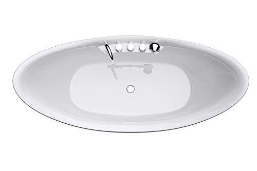 Freistehende Badewanne 180x80cm Oval inkl. Armatur Farbe:Weiß Material:Sanitäracryl V603 Mai & Mai