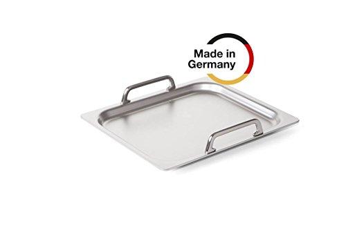 Rieber Teppanyaki 1/2  Grillplatte MADE IN GERMANY für alle Kochstellen geeignet Hocheffiziente Teppanyaki-Grillplatte aus patentiertem SWISS-PLY- Mehrschichtmaterial Hygienische Oberfläche aus Edelstahl Dampfgarer Grillen Kochen Backen Dünsten