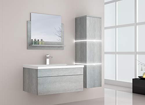 Home Deluxe - Badmöbel-Set - Wangerooge Big Grau- inkl. Waschbecken und komplettem Zubehör - Verschiedene Größen (Small)