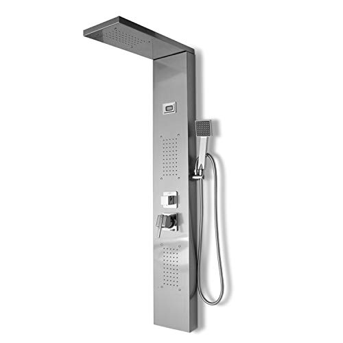 wolketon Duschpaneel aus 304 Edelstahl,Duschsystem mit LED Temperaturanzeige,Massagedusche Handbrause Duschsäule Niederschlag Luxus Duschgarnitur Massagendüsen