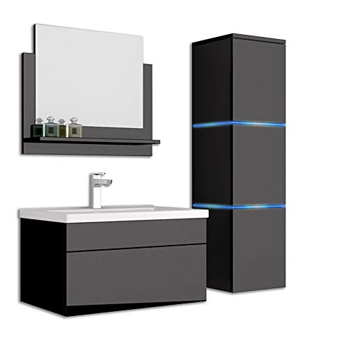 Home Deluxe - Badmöbel-Set - Wangerooge schwarz - Large - inkl. Waschbecken und komplettem Zubehör - Breite Waschbecken: ca. 60 cm | Badezimmermöbel Waschtisch Badmöbelset