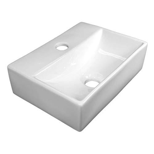 NEG Waschbecken Uno24H (extra klein/eckig) Hänge-Waschschale/Waschtisch (weiß) mit hohem Rand und Nano-Beschichtung