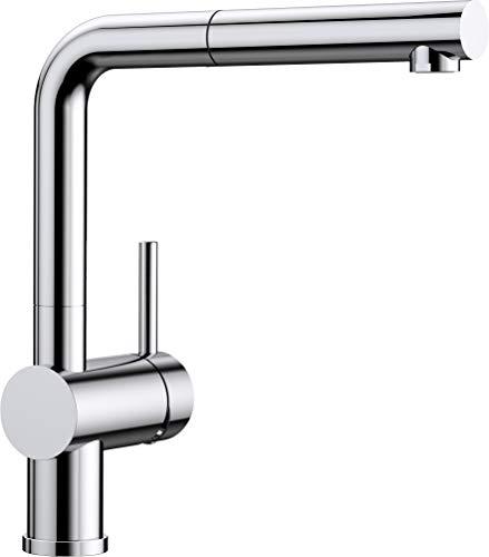 BLANCO LINUS-S – Küchenarmatur mit herausziehbarem Auslauf – Hochdruck – Chrom – 512402