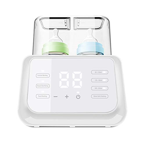 (Aktualisierungen 2020) Owlpow Flaschenwärmer Baby, Multifunktional Sterilisator für Babyflaschen, Babykostwärmer und Warmhaltung mit LCD Bildschirm, Weiß
