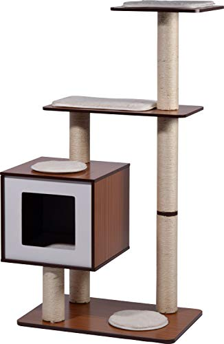 XXL-Katzenmöbel'Sammy' mit 5 Kratzsäulen 4 Liegeflächen, Katzenhöhle mit flauschigem Katzenbett, 68 x 40 x 120 cm, braun/weiß
