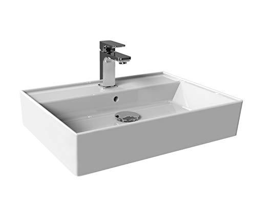 Aqua Bagno Basic, Design Waschbecken im modernen Stil, Waschtisch aus Keramik, Aufsatzwaschbecken in weiß   60 x 45 x 13 cm