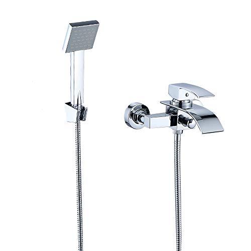 JOHO Badewannenarmatur mit Handbrauseset Duschset Duschsystem Wannenarmatur Duscharmatur Einhebelmischer Mischbatterie Brausearmatur mit Wanneneinlauf und ABS Handbrause