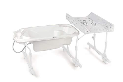 CAM Bade- & Wickelkombination IDRO BABY   Badewannen-Aufsatz praktisch & sicher   Design made in Italy   Wickelkombination mit Babywanne (Bärchen weiß)