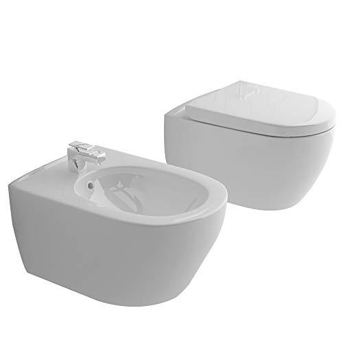 Alpenberger Randlos-Tiefspüler-Hänge-WC&Bidet mit Überlaufschutz&Quick-Release D-Form WC-Sitz mit Absenkautomatik   Komplett-Set   Kein Überspritzen durch innovative Wasserführung   passend zu GEBERIT