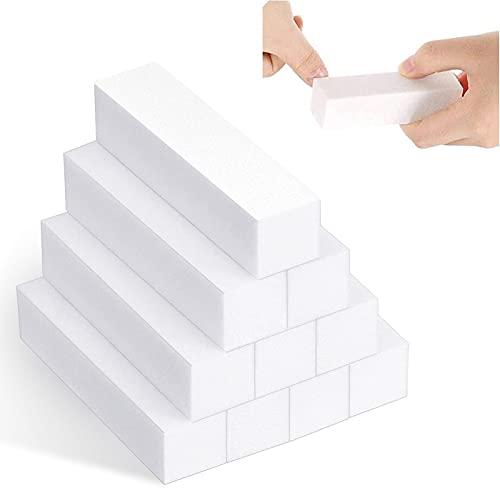 Ealicere 10 Stück Weiß Buffer Schleifblöcke, Polierblock Buffer der neuen Generation mit 4 Feil- und Polierflächen Nagelfeile Block Nagelkunst Maniküre Werkzeug