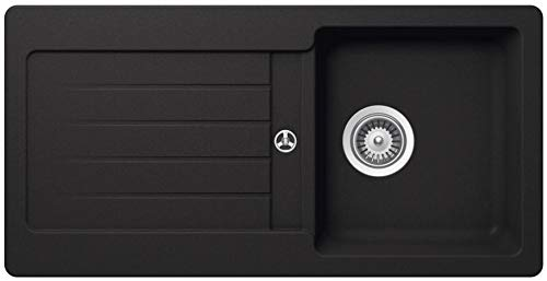 Granitspüle Victory S-VEL860 verschiedenen Farben 860 x 435 mm inkl. Drehexcentergarnitur (black)