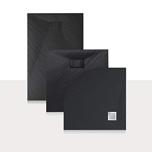 Idralite Duschwanne 120x90x2,6 cm Rechteckig Anthrazitfarbe Stein-Effekt Mod. Blend