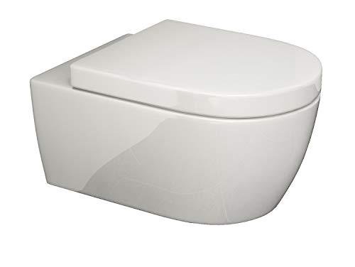 SSWW Design Hänge-WC CT2019V inkl. WC-Sitz mit Softclose-Funktion Geschlossener Unterspülrand Toilette mit Lotus-Effekt | 545 x 360 mm