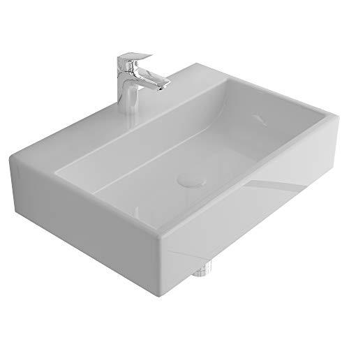 Alpenberger Nano-Beschichtigung Aufsatz&Hänge Waschbecken 52x36 cm | Eckiges Ausgussbecken aus hochwertiger Keramik | Lotuseffekt Waschtisch