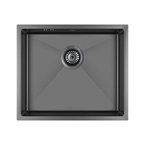 Auralum Edelstahl Küche Spülbecken Waschbecken Schwarz 1 Becken Küchenspüle Einbauspüle mit Ablaufgarnitur, 50 x 43 cm