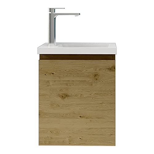 XINKROW Badmöbel-Set, kleines Waschbecken, Besucherspülbecken mit Unterschrank 40x25cm, Waschbeckenunterschrank hängend, Eiche