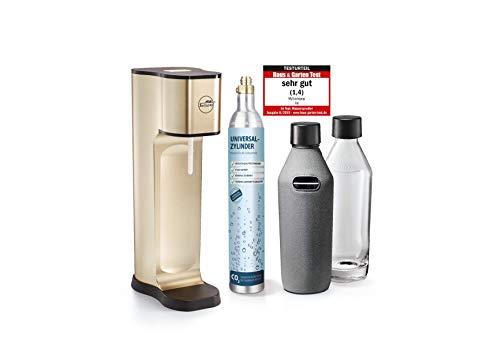 mySodapop Wassersprudler Joy Prestige Champagne Trinkwassersprudler inkl. 2 Glaskaraffen & CO2-Zylinder l Soda Wasseraufbereiter Sprudelwasser Sprudler