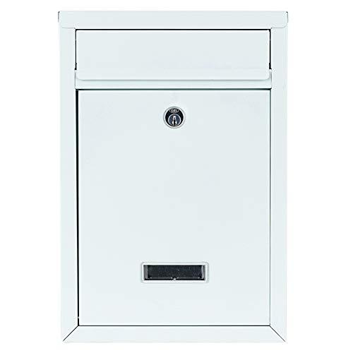 Briefkasten weiß 32x22x10cm| inkl. 2 Schlüssel | Namensschild | abschließbar | witterungsfest | Mailbox Briefkastenanlage Postkasten als Briefkastenanlage geeignet