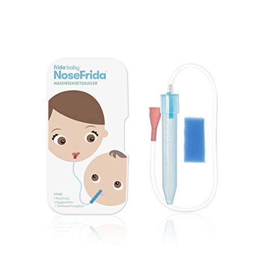 Fridababy NoseFrida Nasensekretsauger, Inkl. 4 Hygienefiltern und Aufbewahrungsbox, Nachfüllbar, Für Babys ab 0 Monaten, Blau/Weiß, 200830012