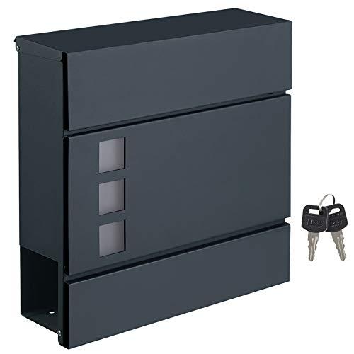 SONGMICS Briefkasten, Wandbriefkasten, modern, abschließbar, mit Zeitungsfach, einfache Montage, anthrazit GMB052G01