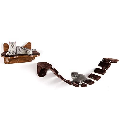 COSTWAY Katzen Kletterleiter Klettergerüst Katzenbett mit Laufsteg Katzenbrücke Holz Wandliege Katzenliege Katzenmöbel Katzentreppe Wandmontage