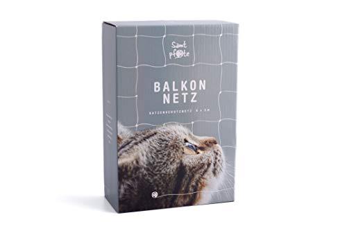 Samtpfote® Katzennetz für Balkon und Fenster - Premium Qualität - Extragroßes 8x3m Katzenschutznetz - Balkonnetz bissfest & reißfest