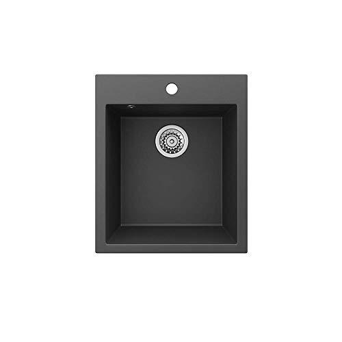 Bergström Granitspüle'Venedig' inkl. Siphon Küchenspüle Einbauspüle 425x500mm (Schwarz)