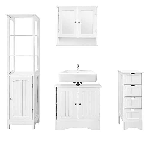ML-Design Badmöbel Set 4-teilig, Badezimmer Komplettset, Spiegelschrank, Waschtisch mit Unterschrank, Hochschrank, Hängeschrank, Badezimmerschrank, Badschrank, viel Stauraum, Landhausstil, Weiß, Holz